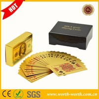 Hot new products for 2015 America Color 100 dollar solid gold playing card, 24K gold playing card with wooden case for gift