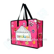 2012 hot sale pp woven zipper shopping bag