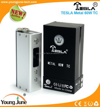Hot sell box mod, newest design VW mod Tesla metal adjustable wattage 60w box mod in market vaporizers wholesale