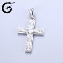 925 silver jewelry by rhodium for classic style cross pendant