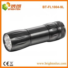 Factory Bulk Sale Housig Ningh Used Black Aluminum 9 led Cheap led Flashlights with 3*AAA Dry Battery