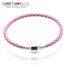 Wholesale Real pink leather bracelet with 925 sterling sliver clasp snake chain bracelets spanish style men & women DIY jewelry