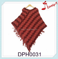 Women crochet knit new fashion acrylic poncho shawl with tassels
