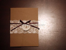 burlap decoration wedding invitation for vintage theme wedding