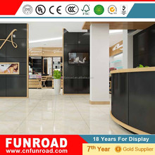 Skin care products display showroom with timber veneer