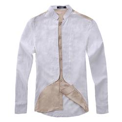 GSCT325 Contrast Color Deisgn Long Sleeve Men Linen Shirts