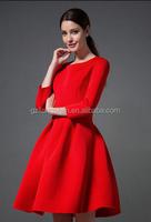OEM Wholesale OL Ladies Smart Elegant Casual Work Evening Party Dress 3/4 Sleeve Cotton Autumn Winter dress