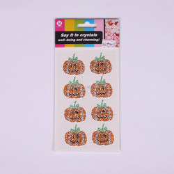 Various Color Christmas Pumpkin Design Crystal Round Puffy Sticker