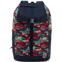 Red camo pattern backpack with cover travelling backpack
