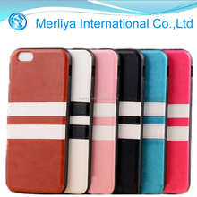 Newest arrival dual strips leather protector cover case for cell phone