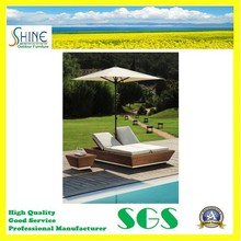 SFM3-20150525-08 Hot Sale Pool Side Double Seat Rattan Sun Lounger with Side Table