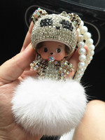 Sweet Cute Keyring With Diamonds Decoration Monchhichi Rabbit Fur Ball Horse Shaped Key Chain