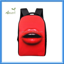 For new Designs Fashion Red Women Lips Sexy Casual Laptop Backpack Double Shoulder School Bags for Girls