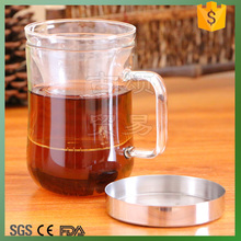 450ml glass office tea cup with stainless steel lid