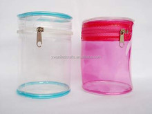 Cylindrical shape clear PVC cosmetic bag with zipper