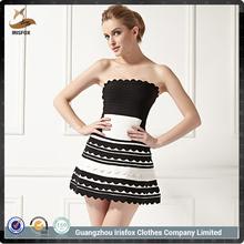 Vestidos Cortos Elegantes de Diseño de MOda de Blanco y Negro