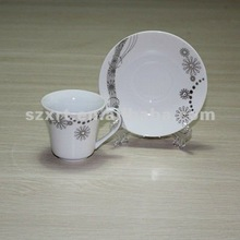 beaded decals ceramic coffee cup and saucer