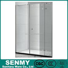 frameless hinge open door wall to wall shower panel