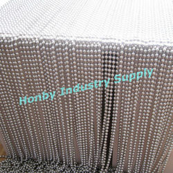 shimmering silver 10mm ball bead window curtain