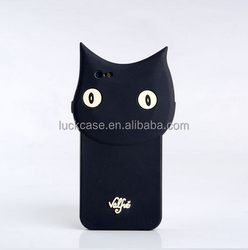 Promotional gift OEM design black cat shape silicone mobile phone case for iphone 6/6s plus