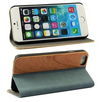 Stand hybrid wood+leather back case cover for apple iphone 6