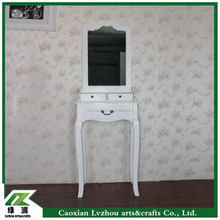 Modern K/D solid wooden white dressing table with mirror