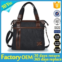 Cotton Canvas Handbag Genuine Leather Cross Body Laptop Messenger Shoulder bag