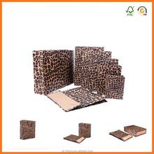 handmade leopard print kraft paper bags with silk ribbon