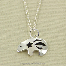alpaca Silver Bear Necklace,S925 silver bear pendant,sterling silver bear