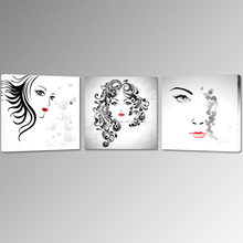 Lady Face Canvas Printing/Red Lip Picture Canvas for Hang/Abstract Women Wall Art for Bedroom Room