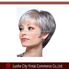 Wholesale high quality factory price short grey silky straight human hair full lace wig