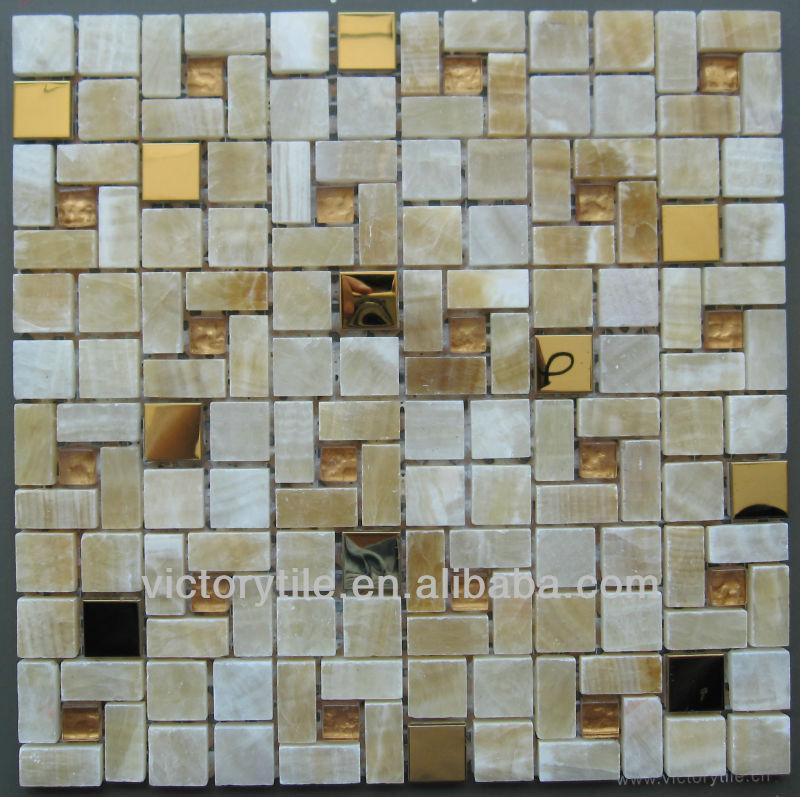 Azulejos Para Baño De Cristal:Cristal mezclado y mármol azulejos de mosaico malla-Mosaicos