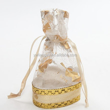 Europe Popular Golden Organza Wedding Favour Candy Packing Bag with Paper Base