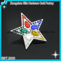 Five star colorful gem lapel pin for company logo