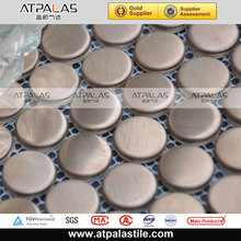 304 stainless steel round metal tile with fish net mounted mosaic