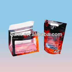 Attractive design stand up food plastic bags for hot chicken