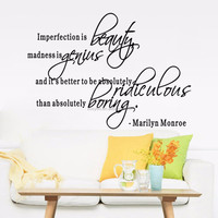 Removab Monroe quote wall sticker vinyl wall Sticker for living room (8410) Imprefection is beauty , genius, pridiculous,