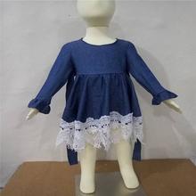 Wholesale new design dress young girls blue denim lace dress