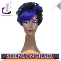 Shenlong hair wholesale 100% kanekalon heat resistant fiber wig, glueless wig, fashion blue wig