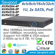 2014 newly competitive 16ch 5Mp Onvif PoE NVR with 8 PoE ports and 160Mbps incoming bandwidth Dahua model NVR4216-8P
