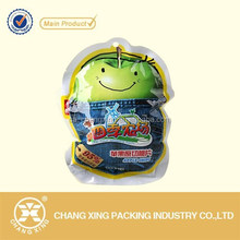 plastic laminated material apple chip special shaped packaging