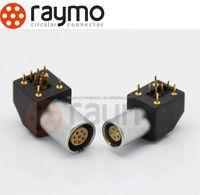 LEMO compatible metal connectors , Elbow socket EPG,series B 6 pin, PCB application