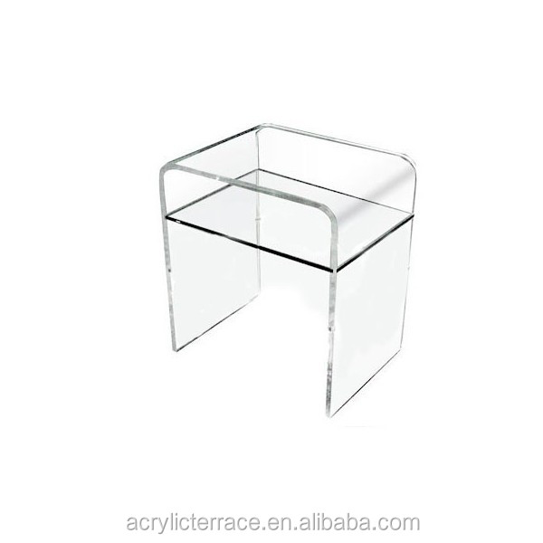 Attractive Plain And Elegant Clear Transparent Acrylic Perspex Lucite Bedside Table  33x33 45h With Shelf 2091508206 ...