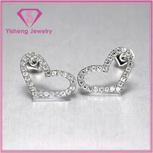 Sterling 925 Silver white color CZ stones love heart shape Ladies earring diamond