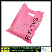 pink printed diet cut plastic shopping bags patch handle plastic bag