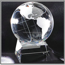 Fancy Etched Crystal Global Paperweight For Table Deocration