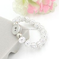 New Product Handmade Jewelry, 12mm Disco Clear Crystal Pave Ball Snap Bracelets for Ginger Chunky Snaps