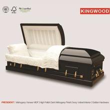 PRESIDENT Mahogany veneer colors of casket coffin cinerary casket china supplier