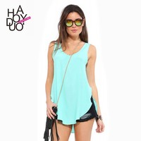 2015 New Fashion Women Sleeveless Tank Tops Irregular Hem U Neck Tops for Wholesale Haoduoyi
