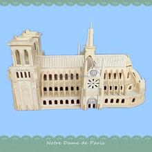 Antique Wooden Applique Notre Dame de Paris Scale Model Wood Craft DIY Kids Educational Toys
